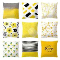 "18"" Ochre Mustard Yellow Grey Cushion Covers Sofa Pillow Case Home Decor Newest"