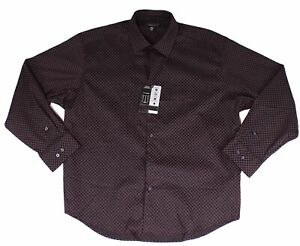 Alfani Mens Dress Shirt Black Pink Size Large L Skip Diamond Regular Fit $60 385
