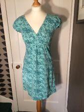 MANTARAY SIZE 8 GREEN FLORAL PRINT COTTON/ELASTANE DRESS WITH BELT