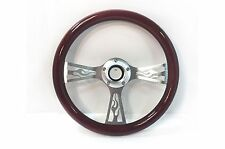 "14"" Flamed 3 Spoke Aluminum Steering Wheel Real Wood Wrap 5 Slot Horn Button"