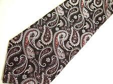"""Stacy Adams Mens Necktie Tie Purple Grey Paisley Silk 59"""""""