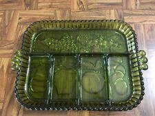 VTG Forest Green Fruit Pattern Depression Glass Handled Divided Serving Tray