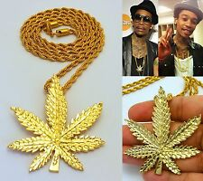 MENS CANNABIS POT GANJA WEED MARIJUANA LEAF PENDANT STAINLESS STEEL ROPE CHAIN