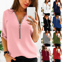 Plus Size Womens Zip V Neck Baggy T Shirt Ladies Long Sleeve Tops Blouse Shirts