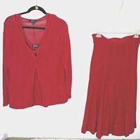 Women CAELIAN 3 Piece Cardigan Tank Set Skirt Embossed Red Size XL Woven Knit