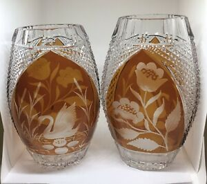 Pair Of Stunning Bohemian Overlaid Crystal Cut Amber Pear Shaped Vases