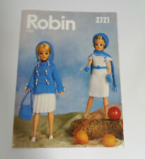Vintage Sindy Doll Robin Knitting Pattern Clothes 1970's