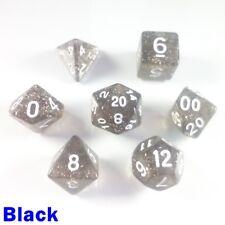 Glitter Poly 7 Dice RPG Set Black Sparkly Dungeons Dragons Pathfinder 5e D&D DND