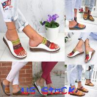 Fashion Women Shoes Color Block Sandals Wedges Peep Toe Strappy Hollow Slides US