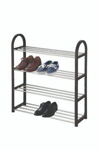 4 / 6 Or 7 Tier Metal Shoe Rack Slated Shoe Storage Stand Organiser Shelf Unit
