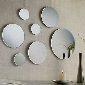 "7-Pc Circle Mirror Set Round Hanging Wall Decor 3"" 6"" 9"" Modern Design Glass"