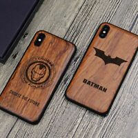 Super Hero Carved Wooden Case for iPhone X XS MAX XR 7 8 6s plus Wood TPU Cover