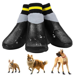 Dog Walking Shoes Non-Slip Waterproof Rain Snow Boot Booties Paw Protector Black