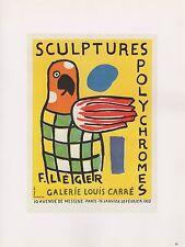 """1989 VINTAGE """"FERNAND LEGER SCULPTURES"""" MOURLOT MINI POSTER COLOR Art Lithograph"""