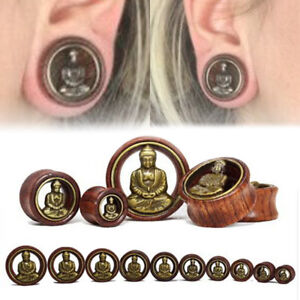 1Pair 8-20mm Wooden Buddha Flared Ear Plugs Tunnel Stretcher Gauges