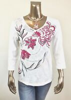 CHICO'S ZENERGY NEW 100% SOFT COTTON BEG FLORAL  3/4-SLV TUNIC TOP SIZE 3 (XL)