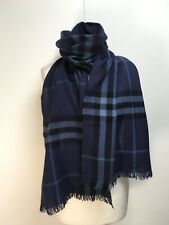 Burberry navy blue black check woven wool cashmere large scarf shawl