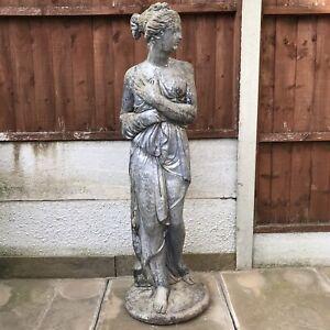 Vintage Classic Silver Lady Garden Stone Statue Ornament Semi Nude 115cm