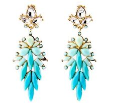 TURQUOISE BLUE GREEN Crystal Rhinestone Gold Floral Chandelier Drop Earrings