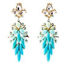 TURQUOISE AQUA TEAL BLUE GREEN Crystal Rhinestone Gold Chandelier Drop Earrings