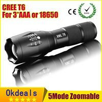 NEW 2200LM CREE XM-L T6 LED Zoomable Focus 18650 Flashlight Torch Lamp Light