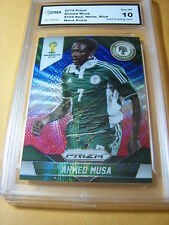 AHMED MUSA NIGERIA 2014 PRIZM FIFA WORLD CUP RED WHITE BLUE WAVE PRIZM GRADED 10