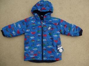 NEW Reversible JOJO MAMAN BEBE WATERPROOF RAIN JACKET 3-4y NWT Coat Fleece Lined