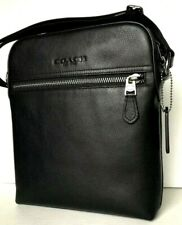 New Coach 68014 Houston Flight bag men's handbag Pebble Leather Black