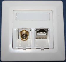 Kombi Netzwerk-Dose Keystone Cat.6a LAN 500 MHz RJ 45  + TV SAT F Antenne Modul