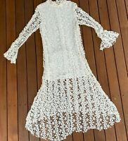 Stevie May  Size S White Lace Midi Dress Formal Long Sleeves High Neck