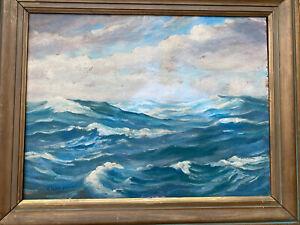 1934 HAROLD DUNBAR signed  Antique Oil Painting Cape Cod Seascape