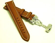 22mm Brown Leather Contrast Stitch Watch Strap Butterfly Clasp Fits All 22mm Lug