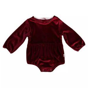 Baby Girl Xmas Festive Velvet Red Bubble Romper Bodysuit Outfit 3 6 9 12 18 24m