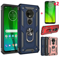 For Motorola Moto G7 Power/Supra/Play/Plus Shockproof Rugged Case+Tempered Glass