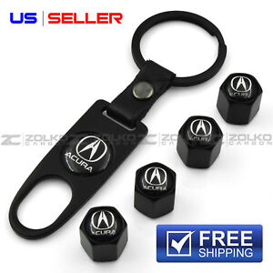 VALVE STEM CAPS + KEYCHAIN WHEEL TIRE BLACK FOR ACURA - US SELLER