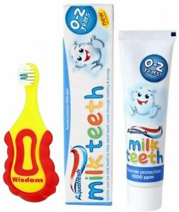 Wisdom Step-by-Step Baby Toothbrush 0-2 Years and Aquafresh Milk Teeth Babies...