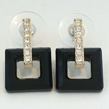 Swarovski Cristal Negro Estilo Art Deco Cuelgan Aretes de Gota de Cristal Claro &
