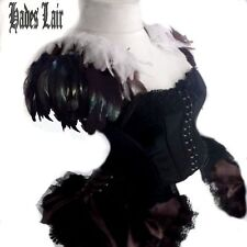 STUNNING BLACK/WHITE COQUE FEATHER EPAULETTES BURLESQUE WINGS SHOULDER PADS GOTH