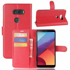 Housse rouge pour LG V30 Portefeuille aspect grainée