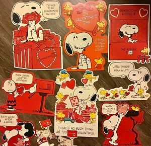 Vintage Peanuts Charlie Brown Snoopy Valentine Party Wall Decorations Lot of 10