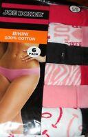 Joe Boxer Women's 6-Pack Bikini 100% Cotton Underwear Panties Size 5/SMALL