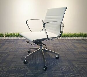 White Home Office Chair PU Leather Mid Back SUPPORT SOHO Executive Gaming Seat