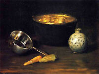 Oil painting William Merritt Chase - Still Life with Pepper and Carrot canvas