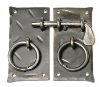 "Handmade 4.15"" Square Cabinet Door Latch + Handles Antique Iron Cupboard Lock"
