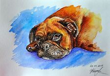 Sadness original dog watercolor painting pet Boxer Puppy ginger art german