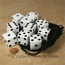 NEW 10 Jumbo 25mm 1 inch White Dice & Bag Set 6 Sided RPG D&D Bunco Game D6