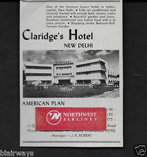 CLARIDGE'S HOTEL NEW DELHI,INDIA 1958 AURANGZEB ROAD BEAUTIFUL GARDENS AD