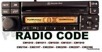 Radio Code - Mercedes AL2297 MF2297 CM2294 CM2299 CM1910 CM2194 Decode