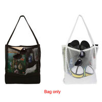 Women Mesh Canvas Shopping Handbag Tote Picnic Bag Beach Organiser Shoulder bag