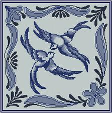 Azul Pájaros Punto de Cruz Kit Completo N.º 18-112